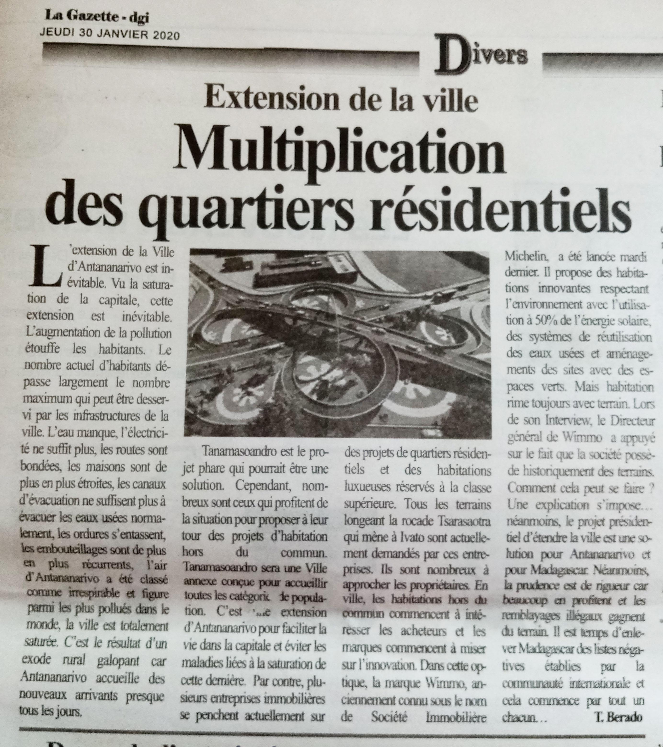 Wimmo dans La Gazette